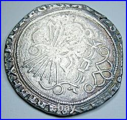 1474-1504 Ferdinand and Isabella Spanish Silver 2 Reales Antique Columbus Coin