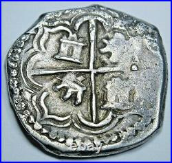 1500's-1600's Bolivia Silver 2 Reales Antique Spanish Colonial Pirate Cob Coin