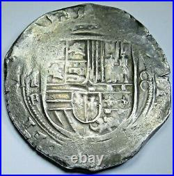 1500's Mexico Silver 8 Reales Philip II Antique Spanish Colonial Pirate Cob Coin