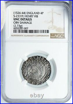 1526 GREAT BRITAIN UK King Henry VIII ANTIQUE OLD Silver 4 Pence Coin NGC i88866