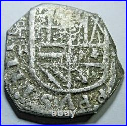1600's Double Struck Spanish Silver 2 Reales Old Antique Two Bits Error Cob Coin