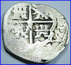 1600's Spanish Silver 2 Reales Genuine Antique Colonial Two Bits Pirate Cob Coin