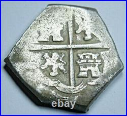 1600's Spanish Silver 2 Reales Two Bit Antique Colonial Pirate Treasure Cob Coin