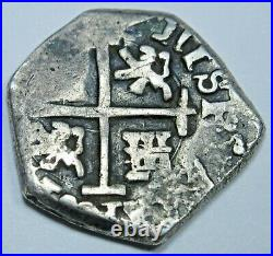 1621-65 XF-AU Spanish Seville R Silver 1/2 Reales Antique 1600's Pirate Cob Coin
