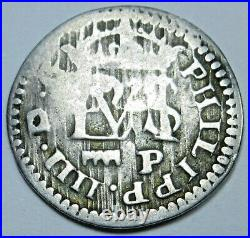 1627 Spanish Silver 1/2 Reales Antique 1600s Colonial Cross Pirate Treasure Coin