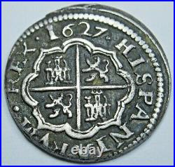 1627 XF Spanish Silver 1 Reales Genuine Antique 1600s Colonial Cross Pirate Coin