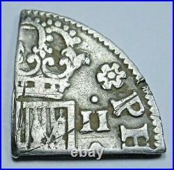 1700's 1/4 Cut Spanish Silver 2 Reales Civil War Battlefield Dug Antique Coin