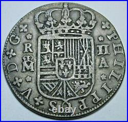1723 Spanish Silver 2 Reales Antique 1700's Colonial Cross Pirate Treasure Coin