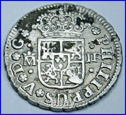 1735 Spanish Silver 1/2 Reales Antique 1700s Colonial Cross Pirate Treasure Coin