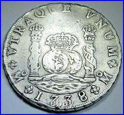1738 Mexico Silver 8 Reales Antique 1700's Spanish Colonial Pillar Dollar Coin