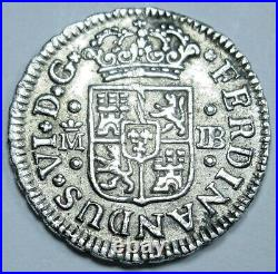 1749 Spanish Silver 1/2 Reales Old Antique 1700's Colonial Pirate Treasure Coin