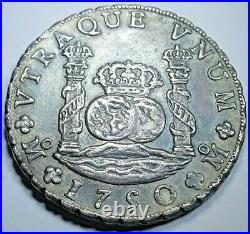 1750 Mexico Silver 8 Reales Antique 1700's Old XF Colonial Pillar Dollar Coin