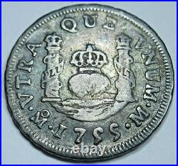 1755 Mexico Silver 1 Reales Genuine Antique 1700's Spanish Colonial Pirate Coin