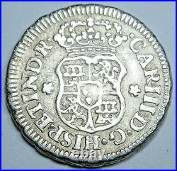 1762 Mexico Silver 1/2 Reales Antique 1700's Spanish Colonial Pirate Pillar Coin