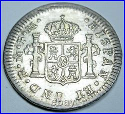 1774 Mexico Silver 1/2 Reales Antique VF-XF 1700's Spanish Colonial Pirate Coin