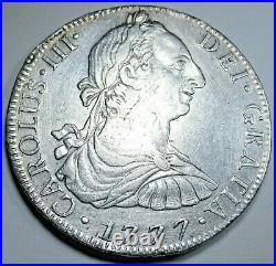1777 Spanish Mexico Silver 8 Reales Antique XF-AU 1700's Colonial Dollar Coin