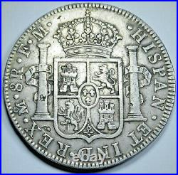 1790 Spanish Mexico Silver 8 Reales Antique Colonial 1700's Dollar Pirate Coin
