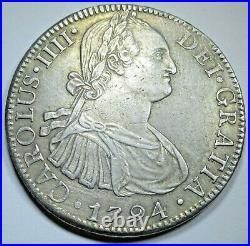 1794 Mexico Silver 8 Reales Genuine Antique 1700's Spanish Colonial Dollar Coin