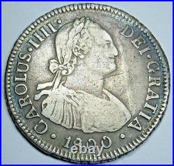 1800 AJ Santiago Chile Spanish Silver 2 Reales Antique Two Bit Colonial Era Coin