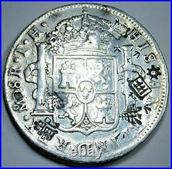 1808 Chopmarks Mexico 8 Reales Antique 1800's Counterstamp Silver Dollar Coin