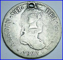 1826 Costa Rica Type III Countermark on Spain Silver 2 Reales Antique 1800s Coin