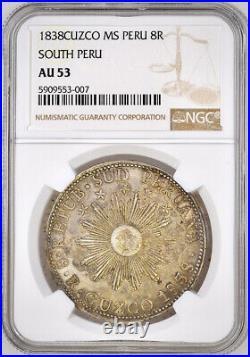 1838 South peru 8 reales Cuzco MS NGC AU53 Antique Silver Coin
