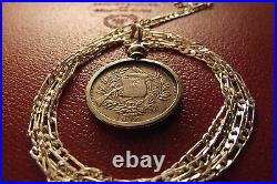 1900-1912 Guatemala 1 Reale Antique Coin Pendant 24 925 Sterling Silver Chain