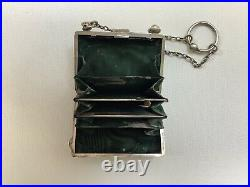 1904 Sterling Silver Silk Lined -Coin Dance Card Purse Monogrammed