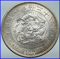 1912 JAPAN Emperor MEIJI Large Antique Silver 1 Yen Japanese Coin DRAGON i87162