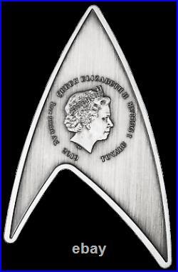2-coin-set 2019 Star Trek STARFLEET COMMAND EMBLEM Antiqued Silver $1$2 3oz MS70