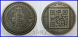2012 RARE Antiqued Physical Bitcoin BTC 1oz 999 Silver Coin Round QR Code Crypto