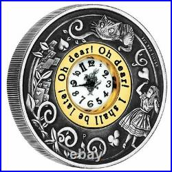 2015 150th Anv of Alice Adventures in Wonderland 2oz Silver Antiqued Clock Coin