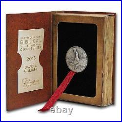 2015 Biblical Series David & Goliath 2 oz Silver Antiqued Coin With OMP & COA