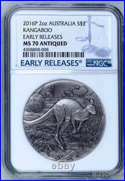 2016 P AUSTRALIA KANGAROO HIGH RELIEF ANTIQUED 2 Oz Silver $2 COIN NGC MS70 ER