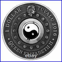 2016 P Tuvalu Yin Yang Rotating Charm ANTIQUED 1Oz Silver $1 COIN NGC PF70 ER