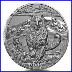2017 Mongolia 500 Togrog Snow Leopard Antiqued 1 oz. 999 Silver Coin 999 Made