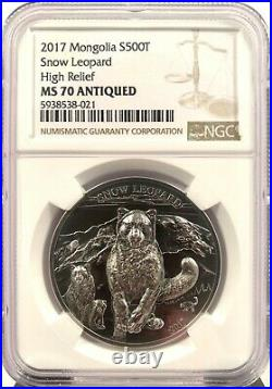 2017 Mongolia 500 Togrog Snow Leopard Antiqued 1 oz. 999 Silver Coin NGC MS 70
