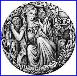2017 Norse Goddesses Frigg 2oz Silver Antiqued High Relief Coin Antique