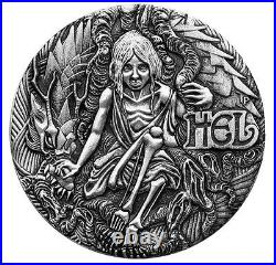 2017 Norse Goddesses HEL 2oz Silver Antiqued High Relief Coin Antique