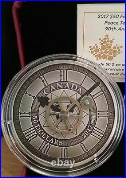 2017 Peace Tower Clock 90th Anniversary $50 5OZ Silver Antique Coin, Mintage1200