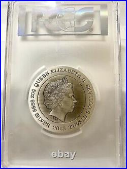 2018 $5 Tuvalu Dragon High Relief Antique 5oz Silver Coin PCGS MS70 Stunning