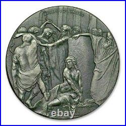 2018 Biblical Series Jesus Scourged 2 oz Silver Antiqued Coin NEW UNWRAPPED