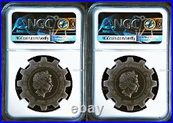 2018 Evolution of Industry ANTIQUED Gear-Shaped 1oz Silver 2-COIN-SET NGC MS69 E