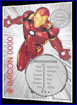 2018 Iron Man Mask $5 Fiji 2oz Silver High Relief Antiqued Coin Marvel Comics