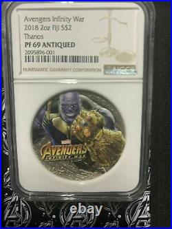 2018 Marvel Avengers Infinity War Thanos 2 Oz. Silver Coin Ngc Pf69 Antiqued