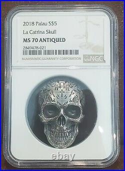 2018 NGC MS 70 PALAU 1oz Silver $5 LA CATRINA SKULL Antiqued