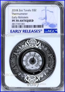 2018 P Tuvalu Thermometer HIGH RELIEF ANTIQUED 2 Oz Silver $2 COIN NGC PF70 ER