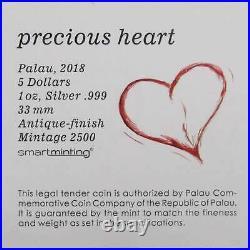 2018 Palau Precious Heart 1 oz. 999 Fine Silver $5 Coin Antique Finish
