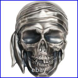 2018 Palau Silver Big Pirate Skull 1/2 Kilogram $25 Antique Finish in Box