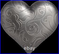2018 Palau Silver Charms Precious Heart 1 oz. 999 Silver Coin Antiqued CIT